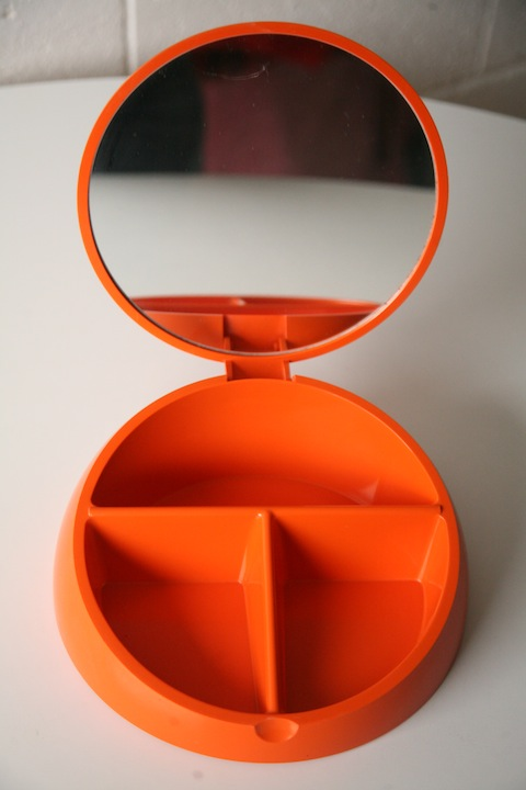 Vintage 1960s Makeup Mirror By Makio Hasuike Cream And