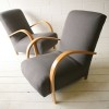 1930s Beech and Grey Armchairs