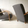 1930s Beech and Grey Armchairs 3