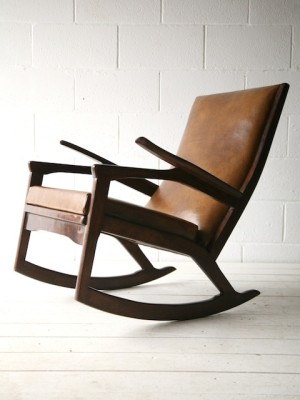 1960s Leather Rocking Chair