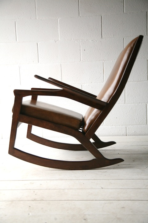 1960s Leather Rocking Chair Cream And Chrome