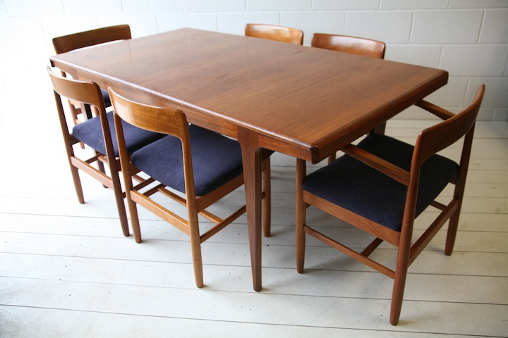 1960s Teak Dining Table And Chairs Cream And Chrome