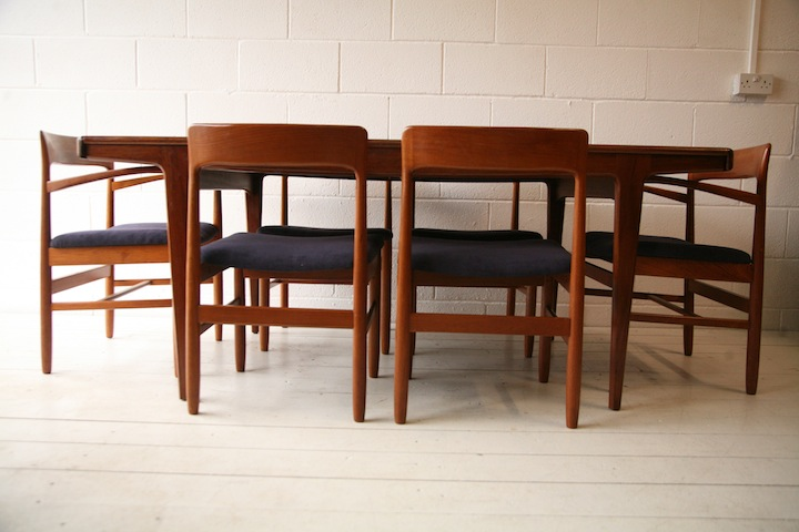 1960s Teak Dining Table and Chairs | Cream and Chrome