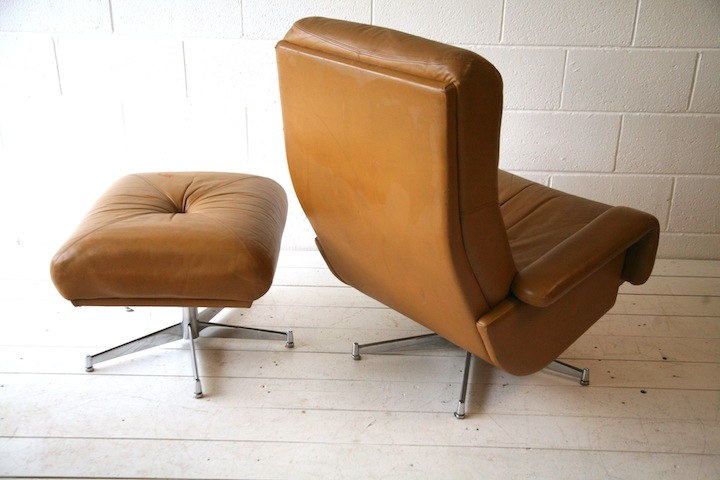 1970s leather swivel chair and stool cream and chrome