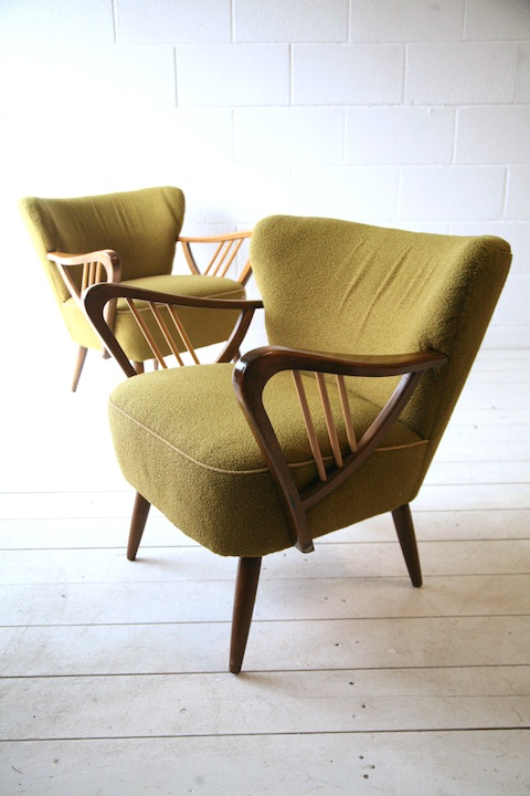 Pair Of Green 1950s Cocktail Chairs Cream And Chrome
