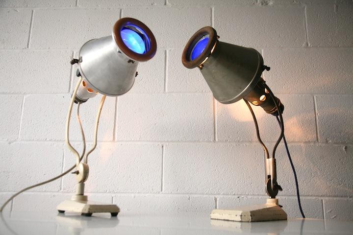1930s Hanau Industrial Heat Lamps Cream And Chrome