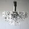 1960s Chrome Glass Ceiling Light by Kinkeldey Germany