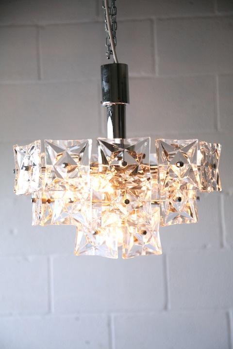 1960s Chrome Glass Ceiling Light by Kinkeldey Germany1