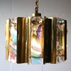 1960s Large Gold Glass Chandelier  1
