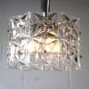 1960s Small Chrome Glass Ceiling Light by Kinkeldey Germany1