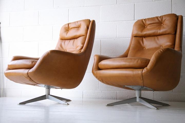 1960s Swedish Swivel Armchairs Cream And Chrome