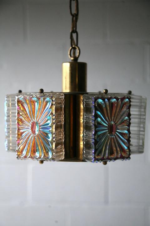 1970s Gold Glass Ceiling Light