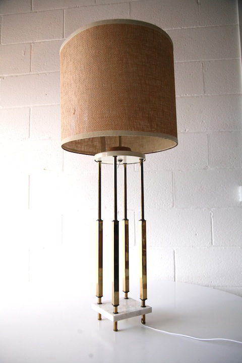 1970s Large Marble Brass Table Lamp1