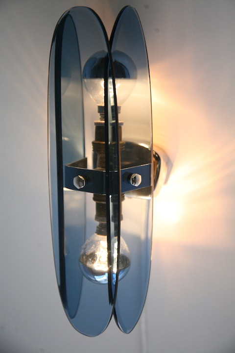 1960s French Blue Glass Wall Lights Cream and Chrome