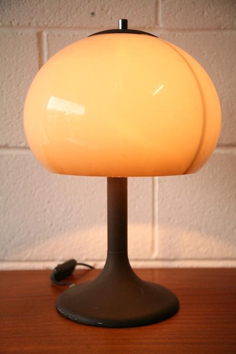 1970s Mushroom Table Lamp Cream And Chrome