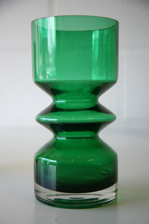 Vintage Riihimaki Vases Cream And Chrome