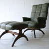 1960s Green Vinyl Chair and Stool1