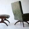 1960s Green Vinyl Chair and Stool3
