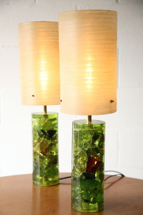 Pair Of 1960s Shatterline Table Lamps Cream And Chrome