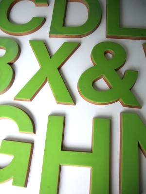 03 Large Green Plastic and Wood Shop Letters