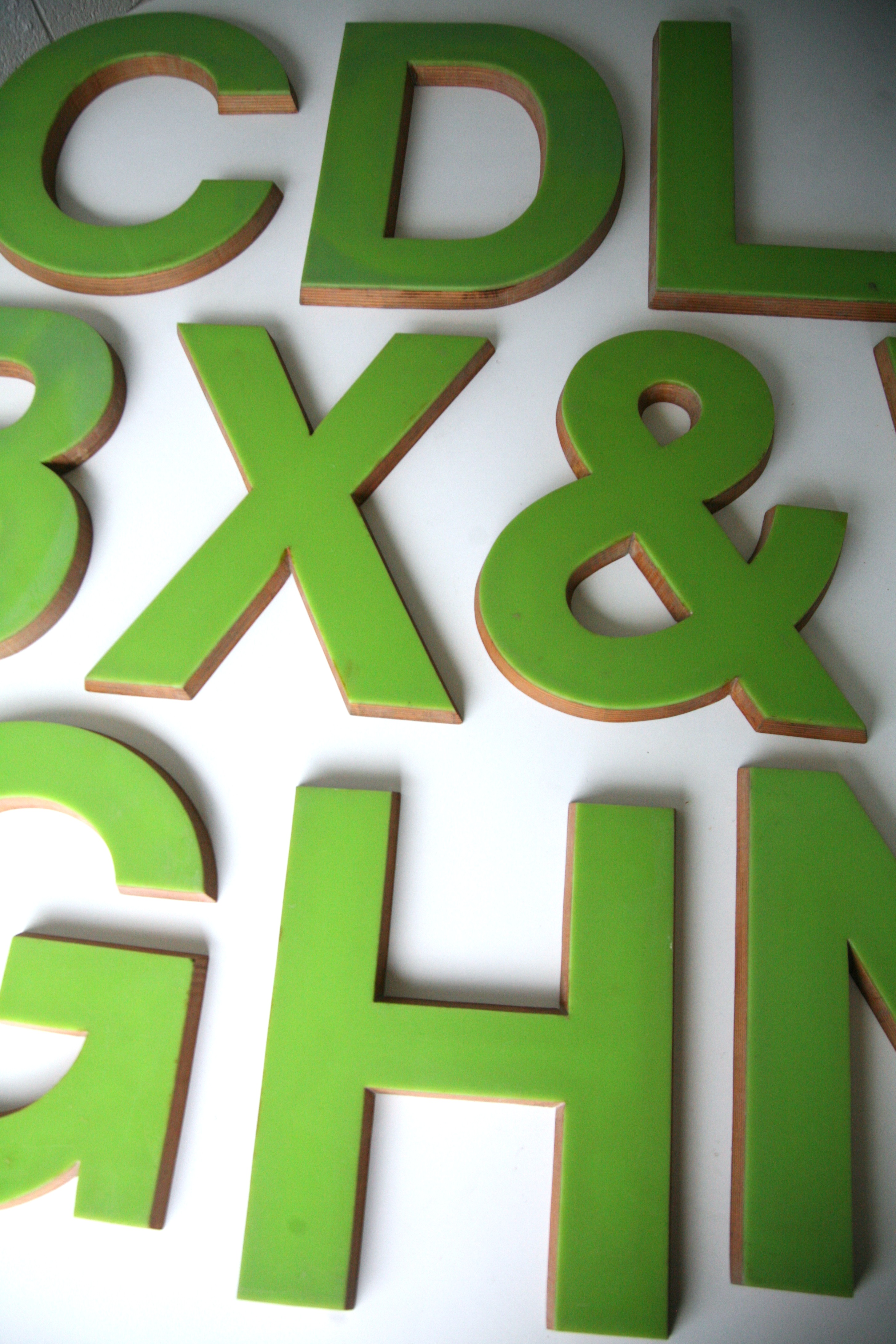 Large Plastic Alphabet Letters Large Green Plastic And Wood Shop Letters Cream And Chrome