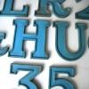 04 VIntage Blue Metal Shop Letters Doric Font
