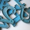 04 VIntage Blue Metal Shop Letters Doric Font2