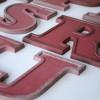 08 VIntage Metal Cherry Red Shop Letters  Doric Font 1