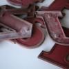 08 VIntage Metal Cherry Red Shop Letters  Doric Font 2