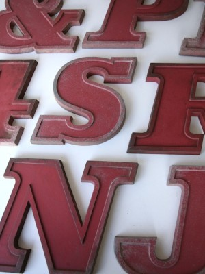 08 VIntage Metal Cherry Red Shop Letters  Doric Font