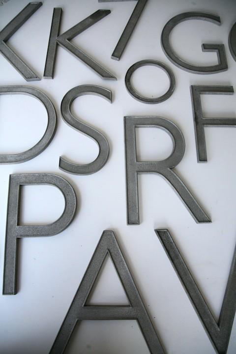 09 Vintage Aluminium Shop Letters Gill Sans Font