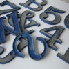 10 Vintage Blue and Silver Metal Shop Letters Clarendon Font 1