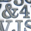 10 Vintage Blue and Silver Metal Shop Letters Clarendon Font