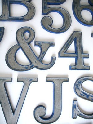 10 Vintage Blue and Silver Metal Shop Letters Clarendon Font