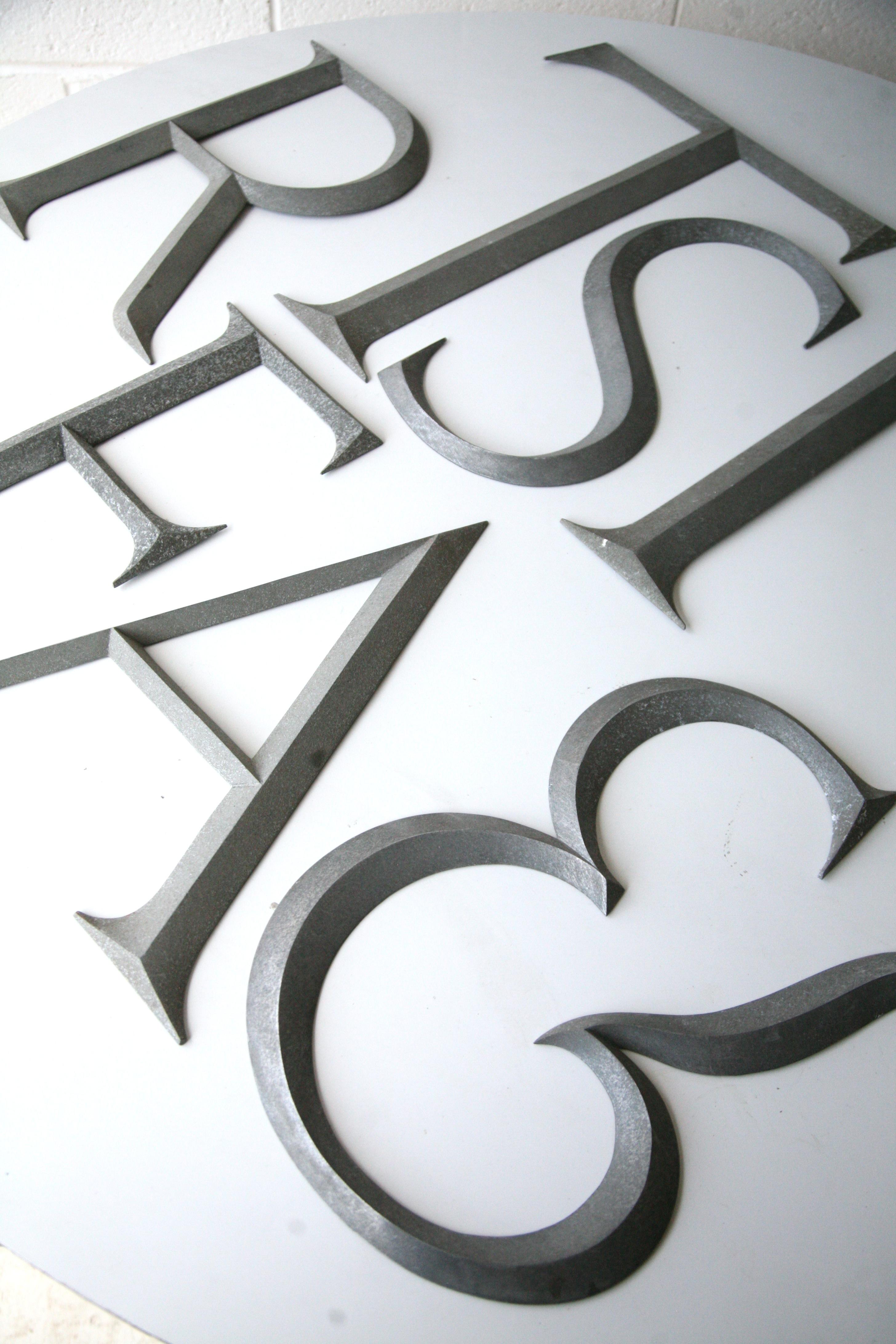 Large Black Metal Letters Vintage Large Metal Shop Letters 'times Roman' Font  Cream And Chrome