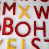13 Vintage Red Yellow Plastic Shop Letters