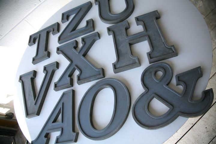Large Vintage Grey Metal Shop Letters Doric Font Cream