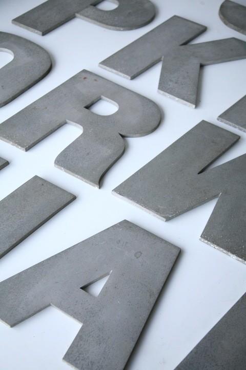 16 Large VIntage Metal Shop Letters Doric Font