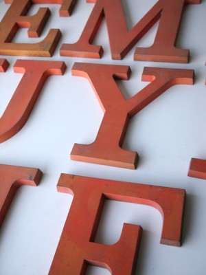 17 Large Metal Orange Shop Letters Clarendon Font