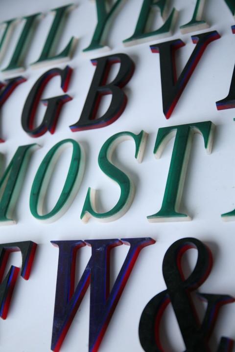 19 Black Green Vintage Plastic Letters Times Roman Font