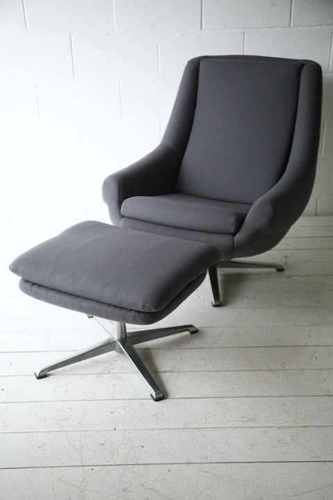 1970s Grey Swivel Chair And Stool