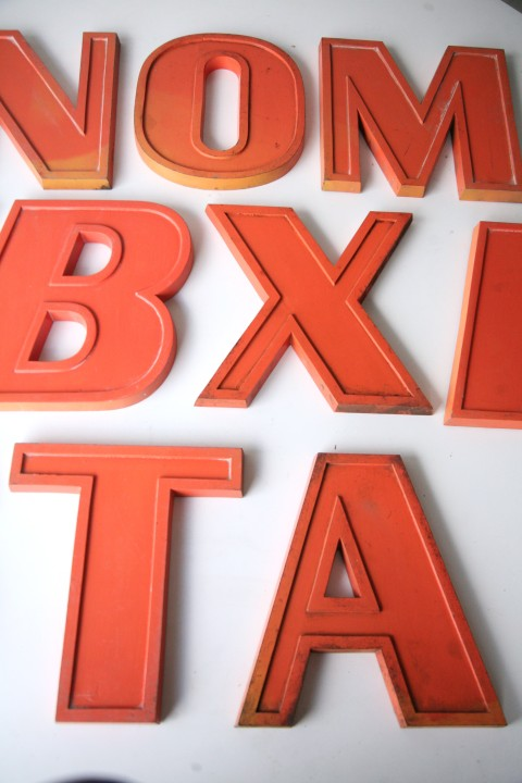 20 Vintage Orange Metal Shop Letters Doric Font