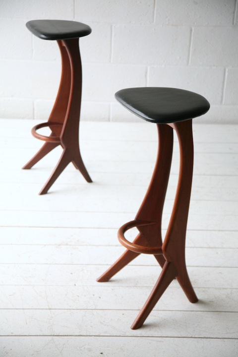 Pair Of Teak Bar Stools By Reyway Cream And Chrome