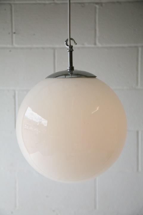 1930s Glass Ceiling Light Cream And Chrome