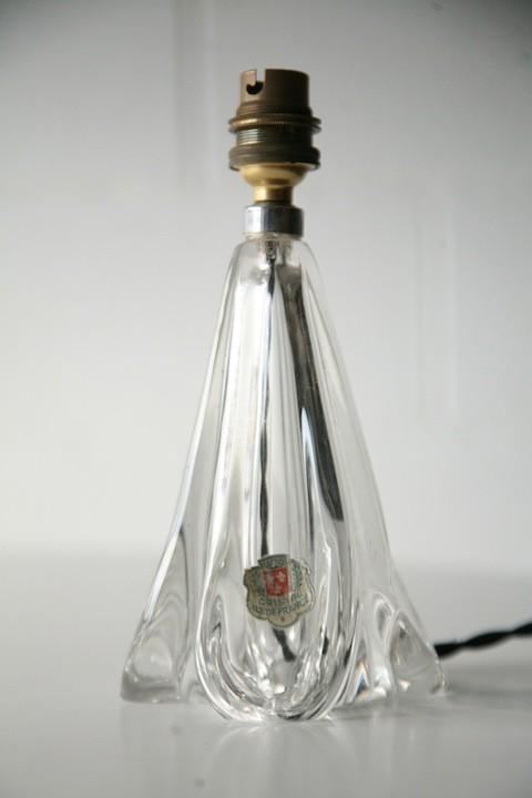 Vintage Cristal Ile De France Glass Lamp Base
