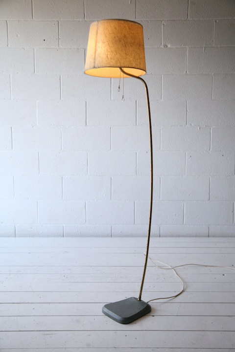 1950s French Brass Floor Lamp Cream And Chrome