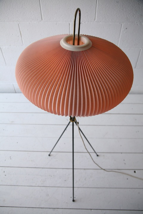 1950s French Pleated Floor Lamp Cream And Chrome