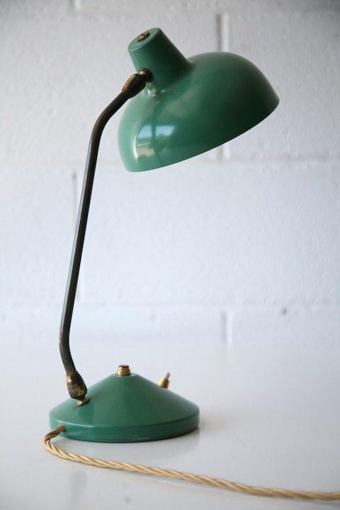 1950s Green Brass Desk Lamp5