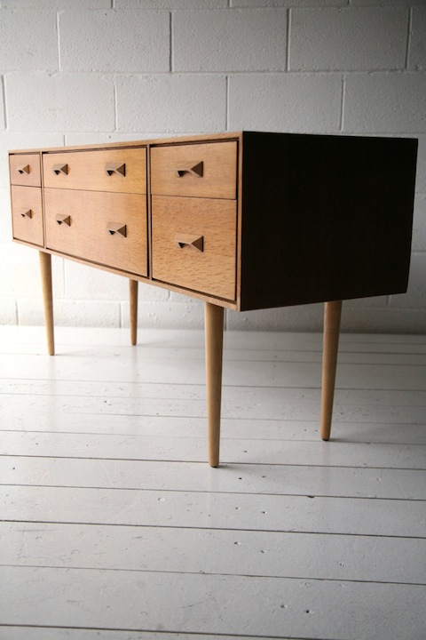 1960s Oak Chest Of Drawers By Stag Cream And Chrome