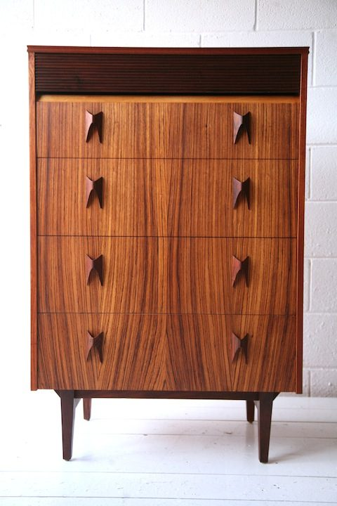 1960s Rosewood and Teak Chest of Drawers by Elliots of Newbury